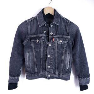 Kids Levi's Black Lined Denim Jean Jacket Size S